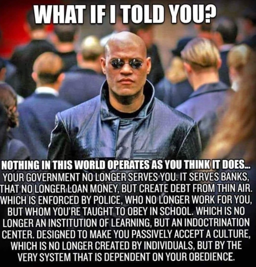 Nothing in this world operates as you think - Take the Red Pill Information